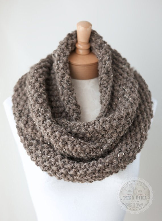 Fresh Knit Infinity Scarf Chunky Knit Scarf In Taupe by Knit Circle Scarf Of Brilliant 47 Photos Knit Circle Scarf