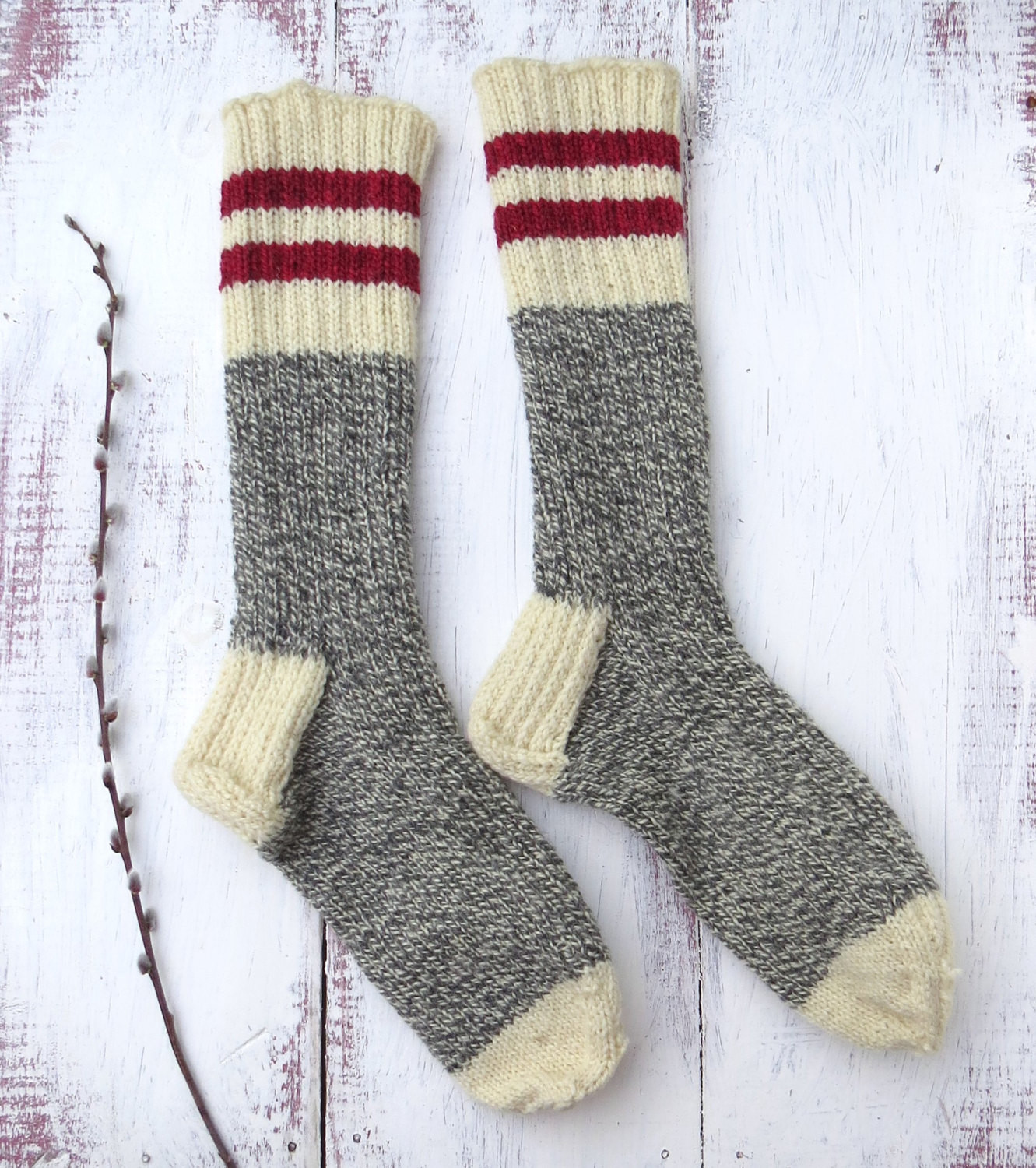 Fresh Knit Wool socks Hand Knit Mens Grey White Twist with Red Hand Knitting Wool Of Great 44 Photos Hand Knitting Wool