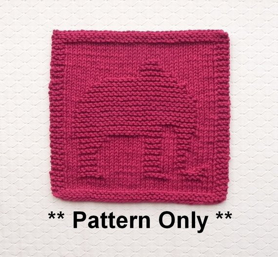 Knitted DISHCLOTH Elephant PATTERN Instant Download Knit