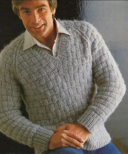 Knitting Pattern Sweater Men Cardigan With Buttons