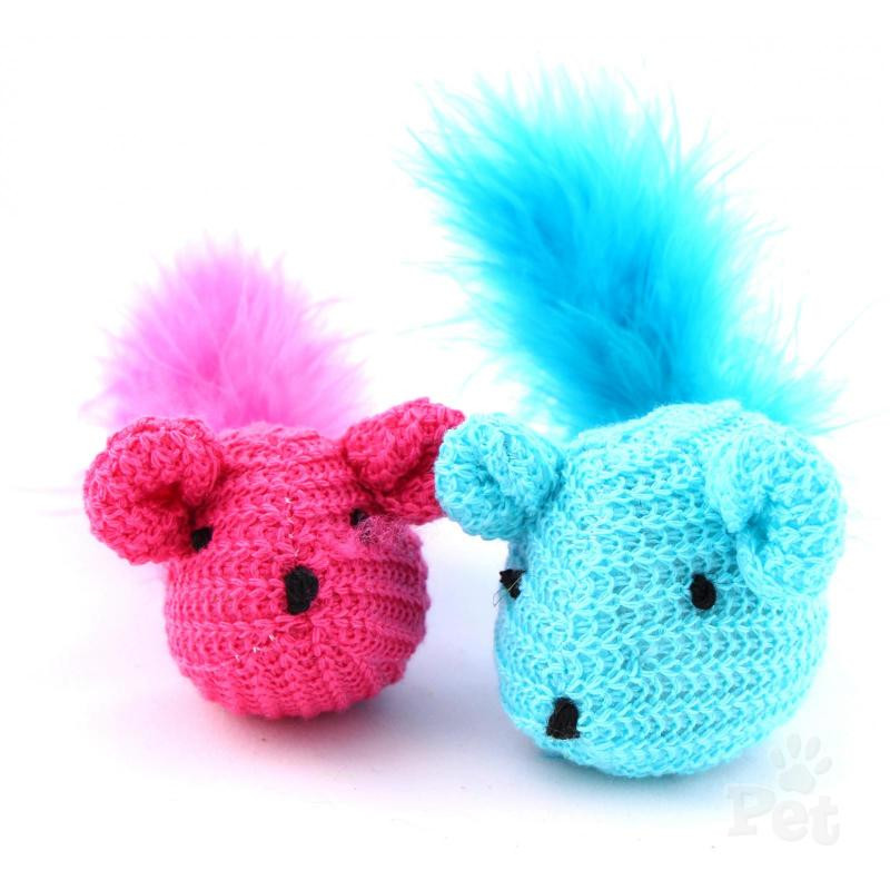 Kylies Knit Mouse With Feather Cat Toy