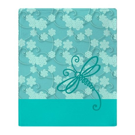 Light Blue Dragonfly Art Throw Blanket by Admin CP