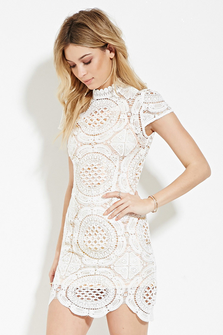 Fresh Lyst forever 21 Crochet High Neck Dress In White Crochet Trim Dresses Of Attractive 47 Images Crochet Trim Dresses