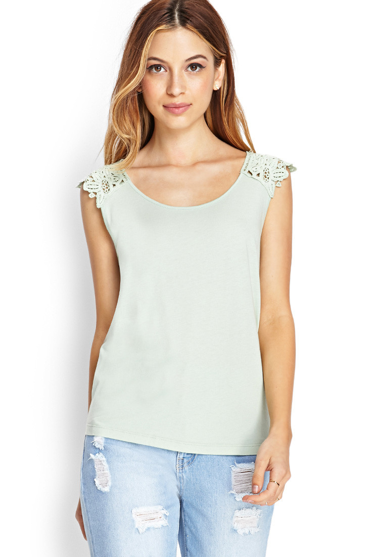 Fresh Lyst forever 21 Embroidered Crochet top In Blue Crochet tops forever 21 Of Beautiful forever 21 Scalloped Crochet top In Beige Cream Crochet tops forever 21