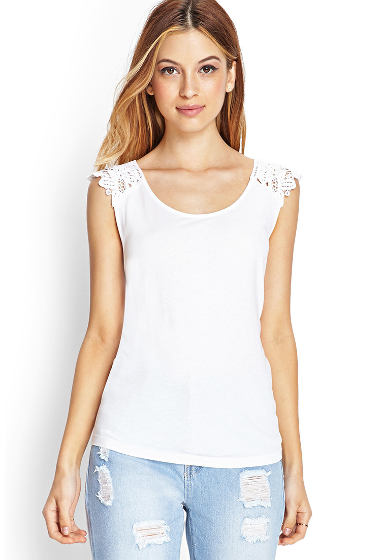Fresh Lyst forever 21 Embroidered Crochet top In White Crochet tops forever 21 Of Beautiful forever 21 Scalloped Crochet top In Beige Cream Crochet tops forever 21