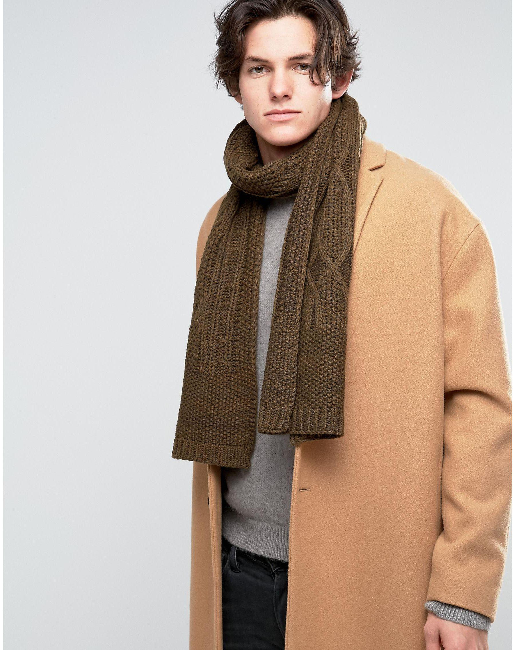 Lyst New Look Cable Knit Scarf In Khaki in Green for Men