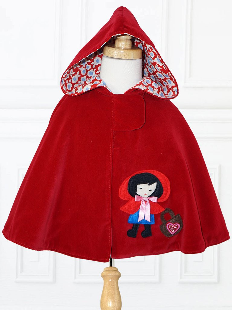 MAISIE Girls Reversible Cape Pattern Little Red Riding