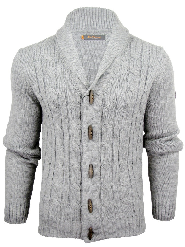 Mens Ben Sherman Cable Shawl Collar Cardigan