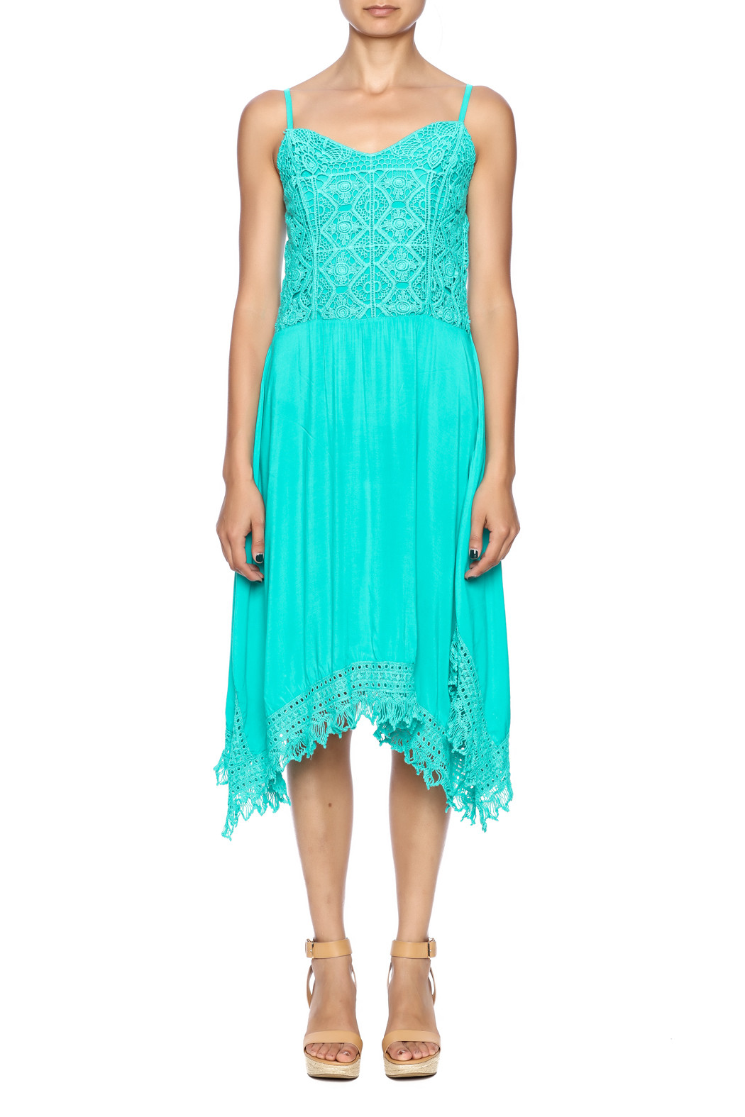 Monoreno Turquoise Crochet Dress from Tennessee by