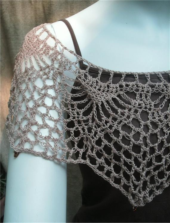 Fresh Mushroom Brown Lacy Capelet In Bamboo Crochet Thread with Bamboo Crochet Thread Of Awesome 29 Pics Bamboo Crochet Thread