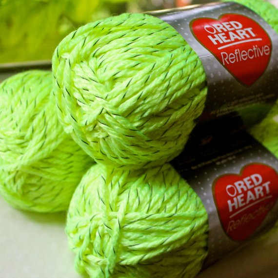 Neon Yellow Reflective yarn lot 3 skeins red heart bulky