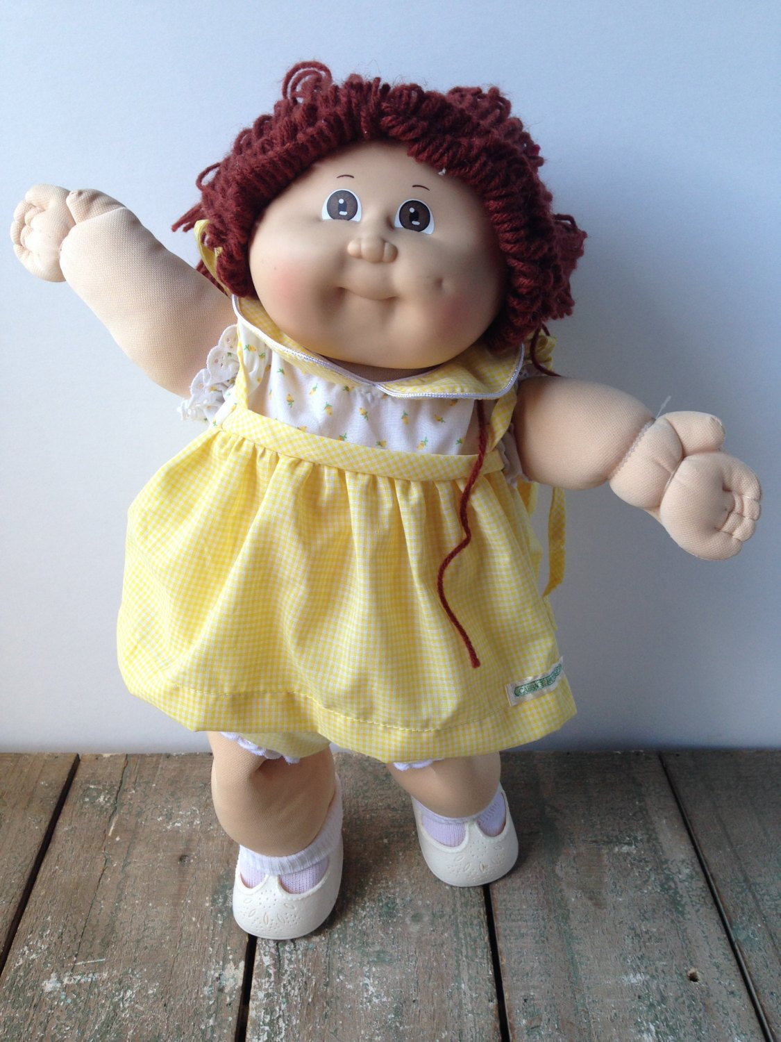 cabbage patch kids doll yellow dress
