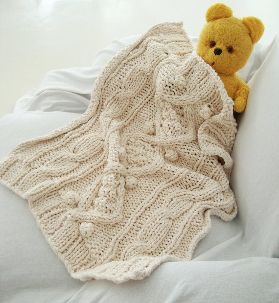 organic cotton chunky cable knit baby blanket