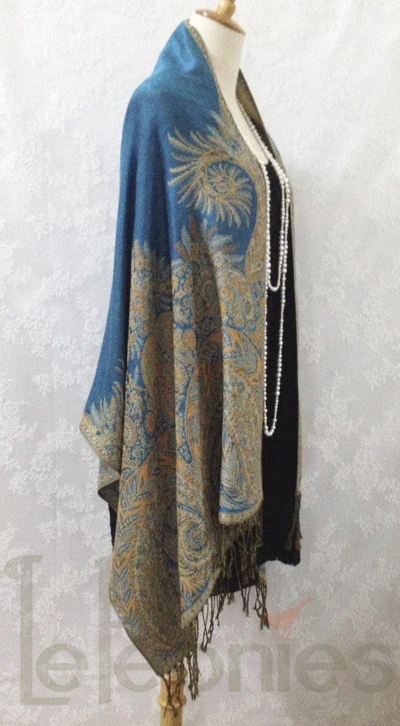 Fresh Peacock Blue Paisley Shawl Pashmina Shawl by Lepeoniesboutique Peacock Shawl Of Charming 44 Pictures Peacock Shawl