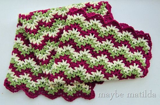 Pink and Green Zig Zag Crochet Baby Blanket by maybe