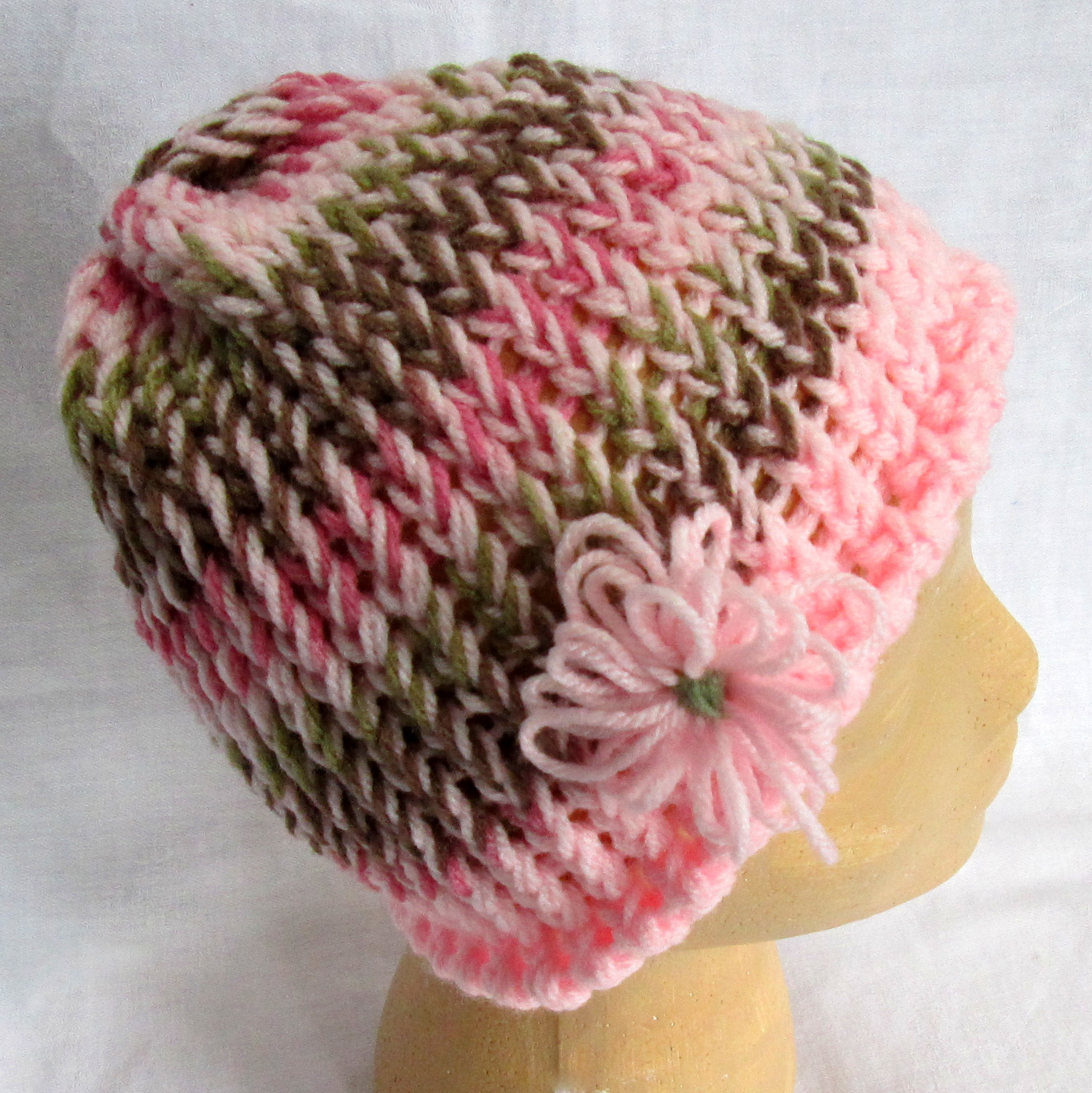 Pink Camo Knit Hat with Flower