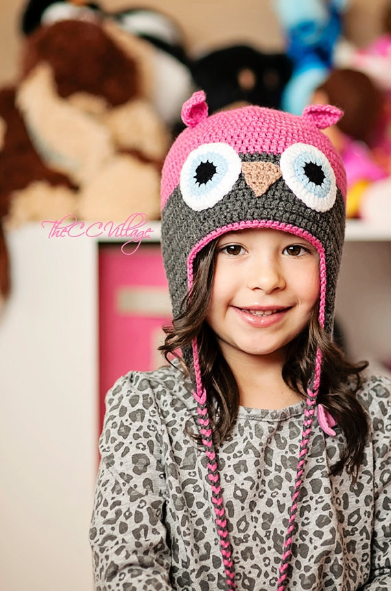 Fresh Pink Crochet Owl Hat for Baby Girl Grey Earflap Hat for Pink Crochet Hat Of Great 43 Models Pink Crochet Hat