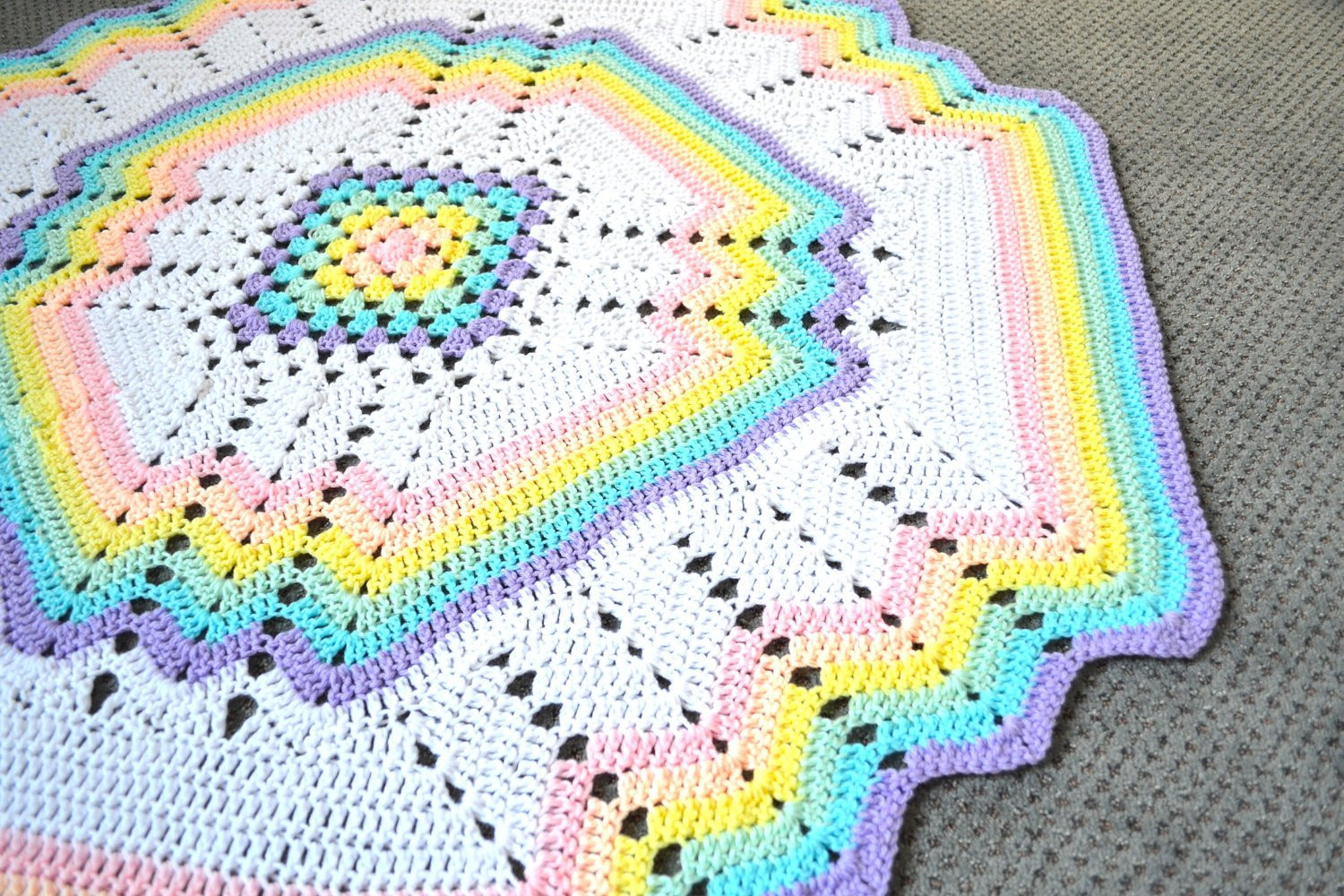 Fresh Rainbow Crochet Blanket Handmade Crochet Rug Pastel Colors Rainbow Crochet Blanket Of Great 40 Photos Rainbow Crochet Blanket