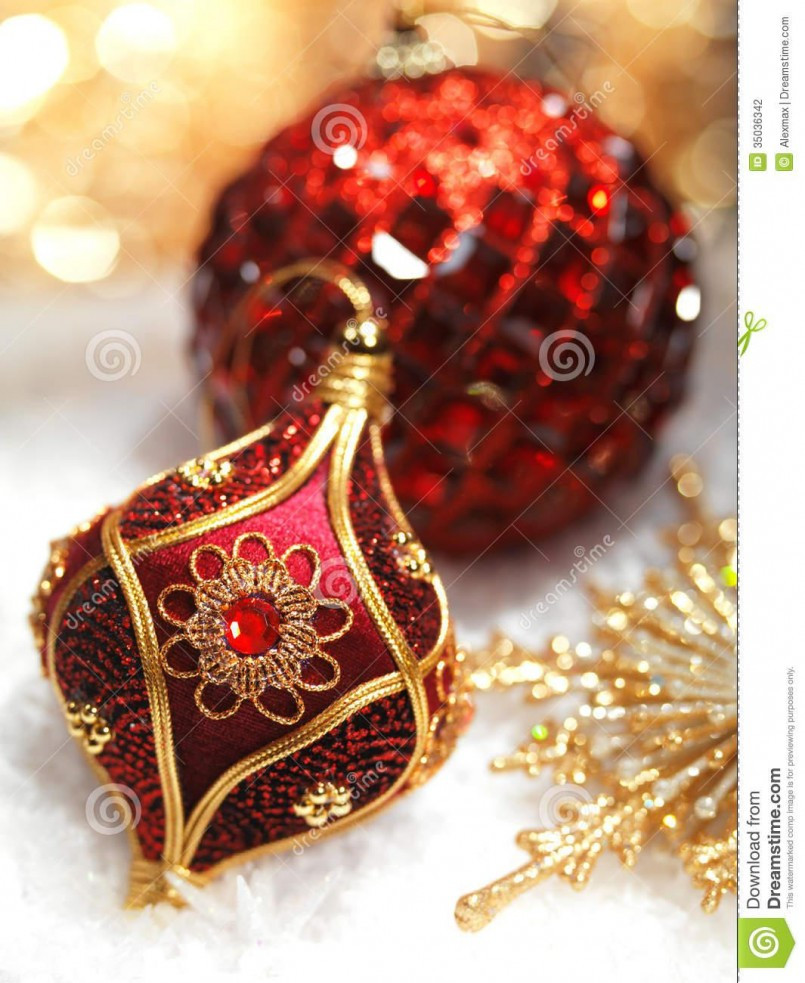 Red And Gold Christmas Ornaments – Happy Holidays