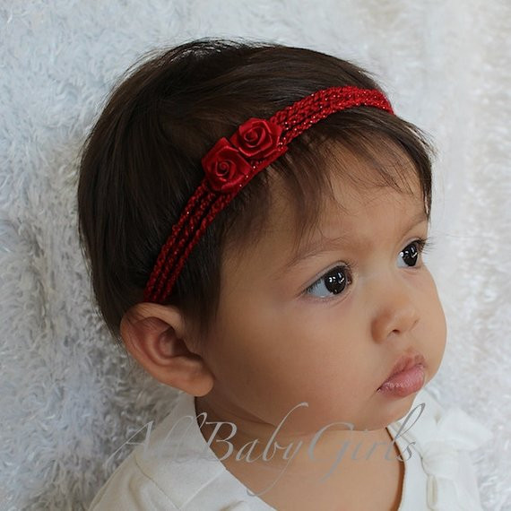 Fresh Red Crochet Baby Headband with Lace Bow and by Allbabygirls Babies Crochet Headbands Of Awesome 49 Photos Babies Crochet Headbands