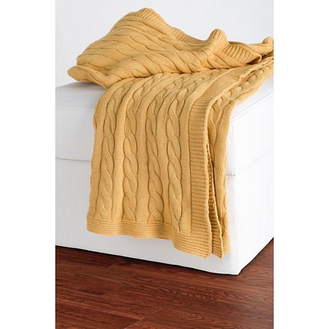 Rizzy Home Cable Knit Sweater Throw Tar