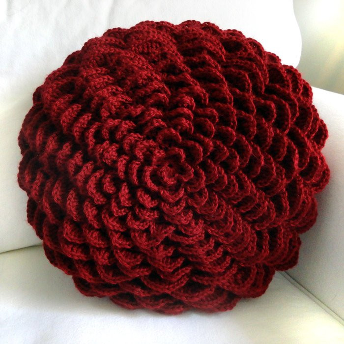 Round Flower Pillow Cover PDF Crochet Pattern Instant