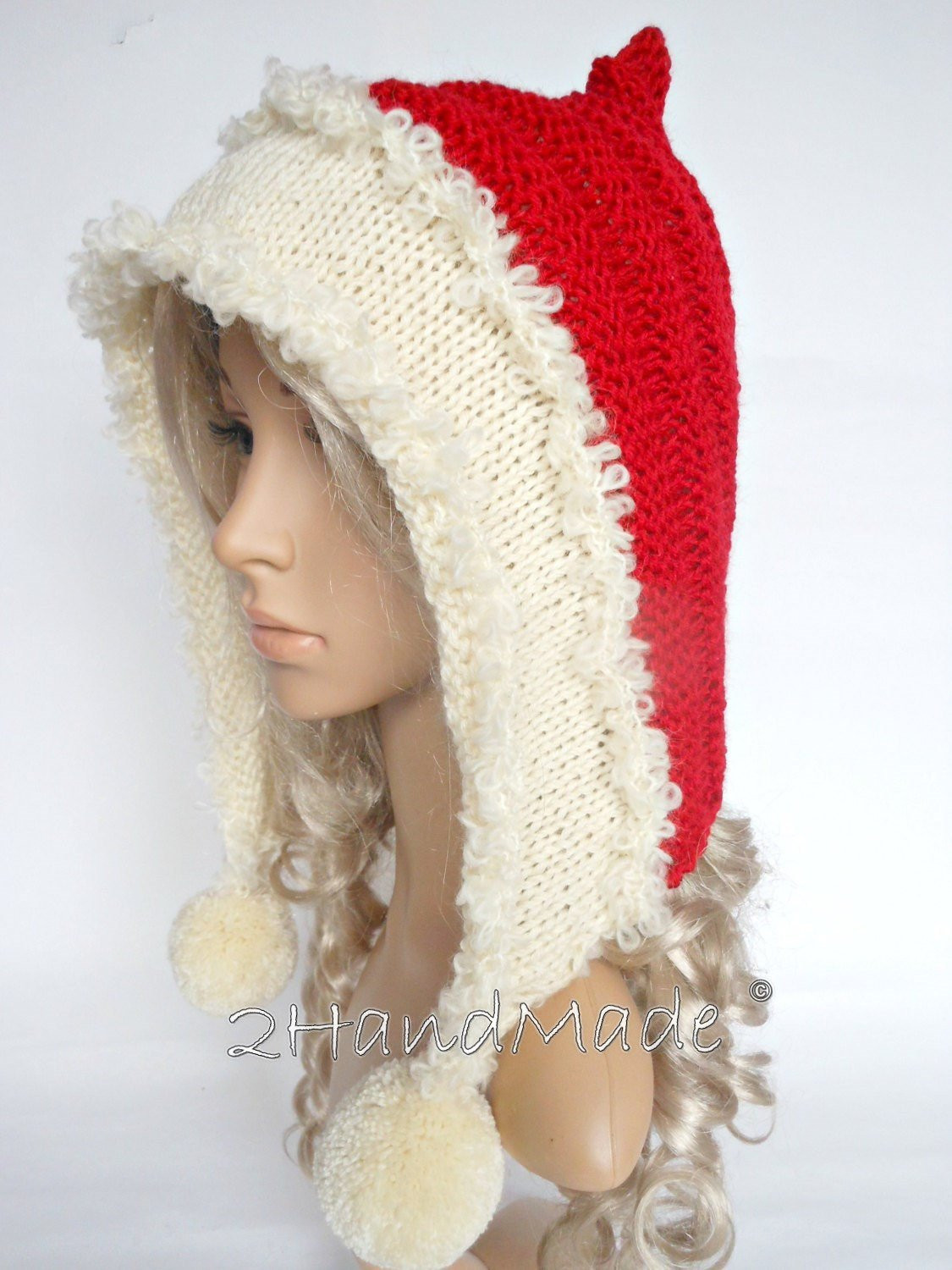 Fresh Santa Hat Adult Knit Oversized Christmas Elf Pixie Santa Hood Knitted Christmas Hats Of Adorable 50 Models Knitted Christmas Hats