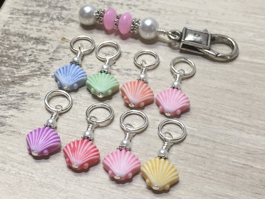 Fresh Seashell Stitch Markers and Matching Clip Holder Knitting Stitch Markers Of Gorgeous 48 Models Knitting Stitch Markers