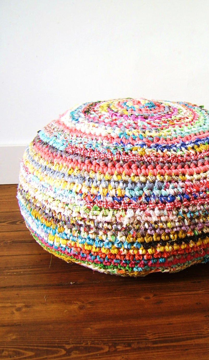 Fresh Silly Old Suitcase Fabric Crochet Madness A Pouf Crochet Material Of Superb 44 Ideas Crochet Material