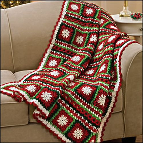Fresh Snowflakes and Ribbons Throw Crochet World Fall 2010 Crochet Christmas Afghan Of Contemporary 48 Pics Crochet Christmas Afghan
