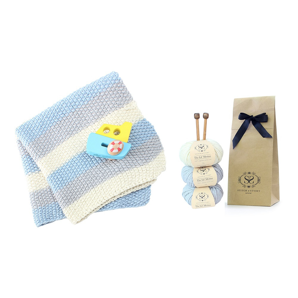 Fresh Stripey Baby Blanket Knitting Kit In Baby Blue Gifts Baby Blanket Kits Of Delightful 48 Pictures Baby Blanket Kits