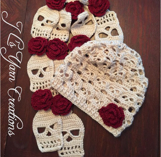 Sugar Skull Crocheted Hat & Scarf Set – Sugar Skull Culture