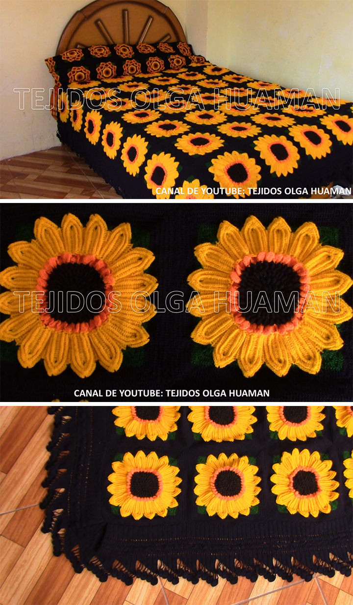 Fresh Sunflower Blanket Crochet Pattern Tutorial Sunflower Crochet Blanket Of Elegant Hand Crocheted Sunflower Granny Square Blanket Afghan Throw Sunflower Crochet Blanket