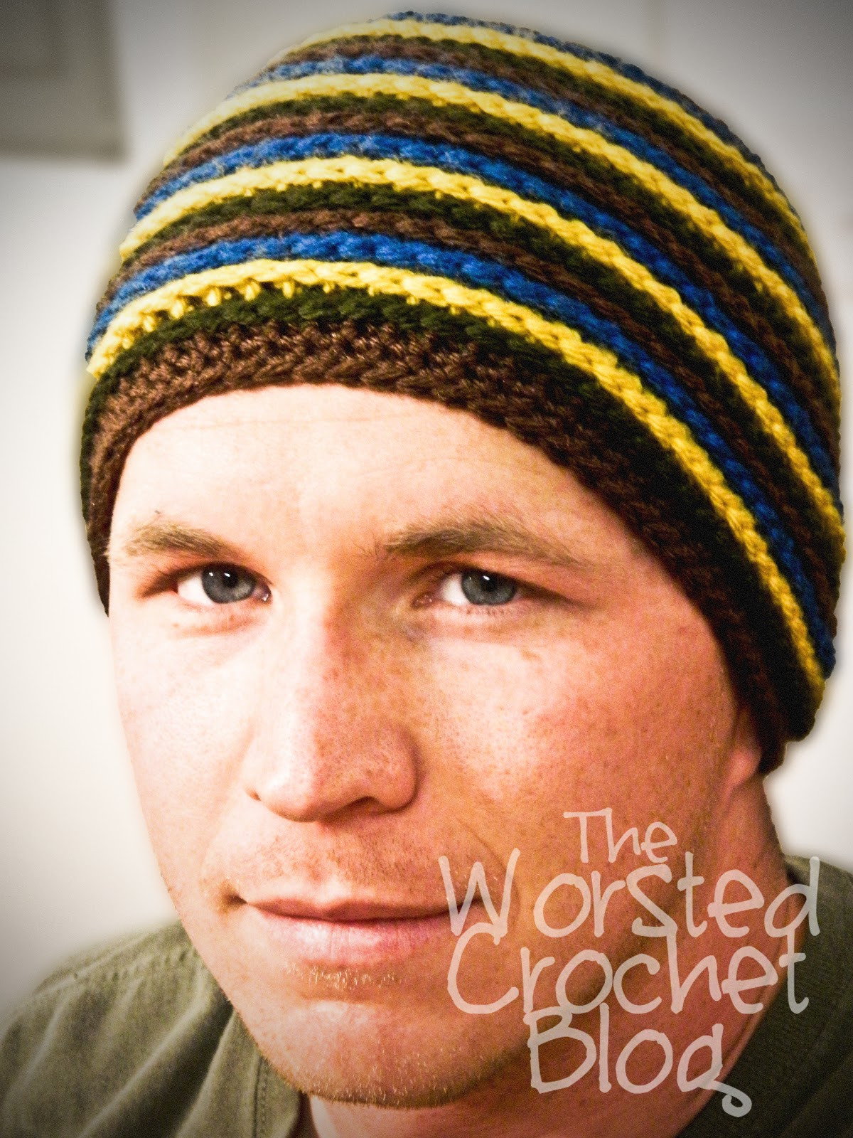 The Worsted Crochet Blog Men s Striped Beanie Pattern FREE