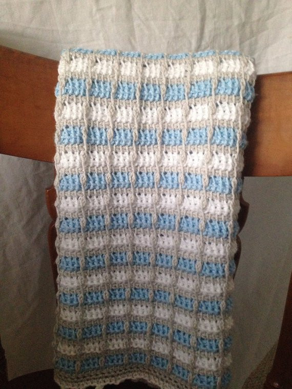 Fresh Tunisian Crochet Baby Blanket Blue Gray and by Knotesandknots Tunisian Crochet Baby Blanket Of Brilliant 47 Ideas Tunisian Crochet Baby Blanket