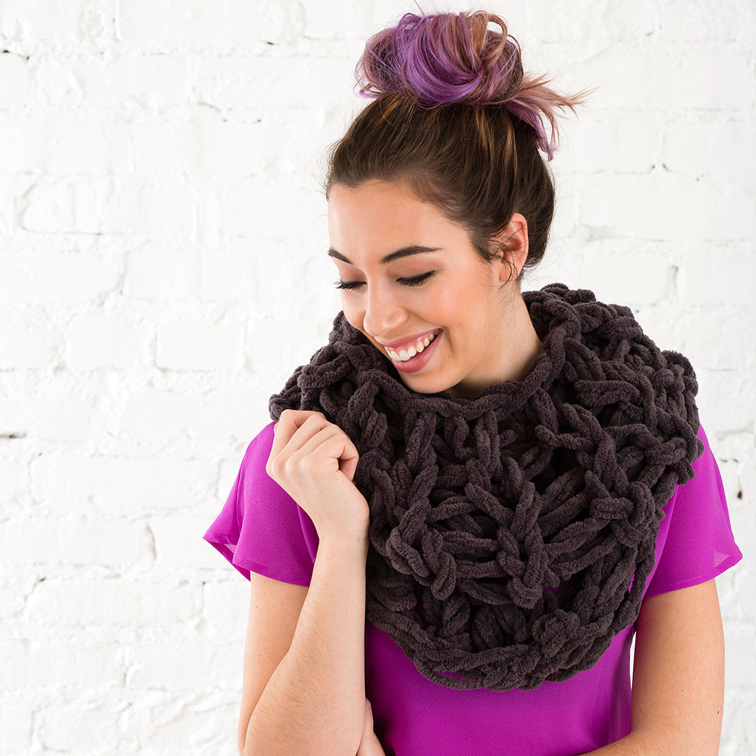 Fresh Use Your Arms to Knit This Cozy Circle Scarf In Under 30 Knit Circle Scarf Of Brilliant 47 Photos Knit Circle Scarf
