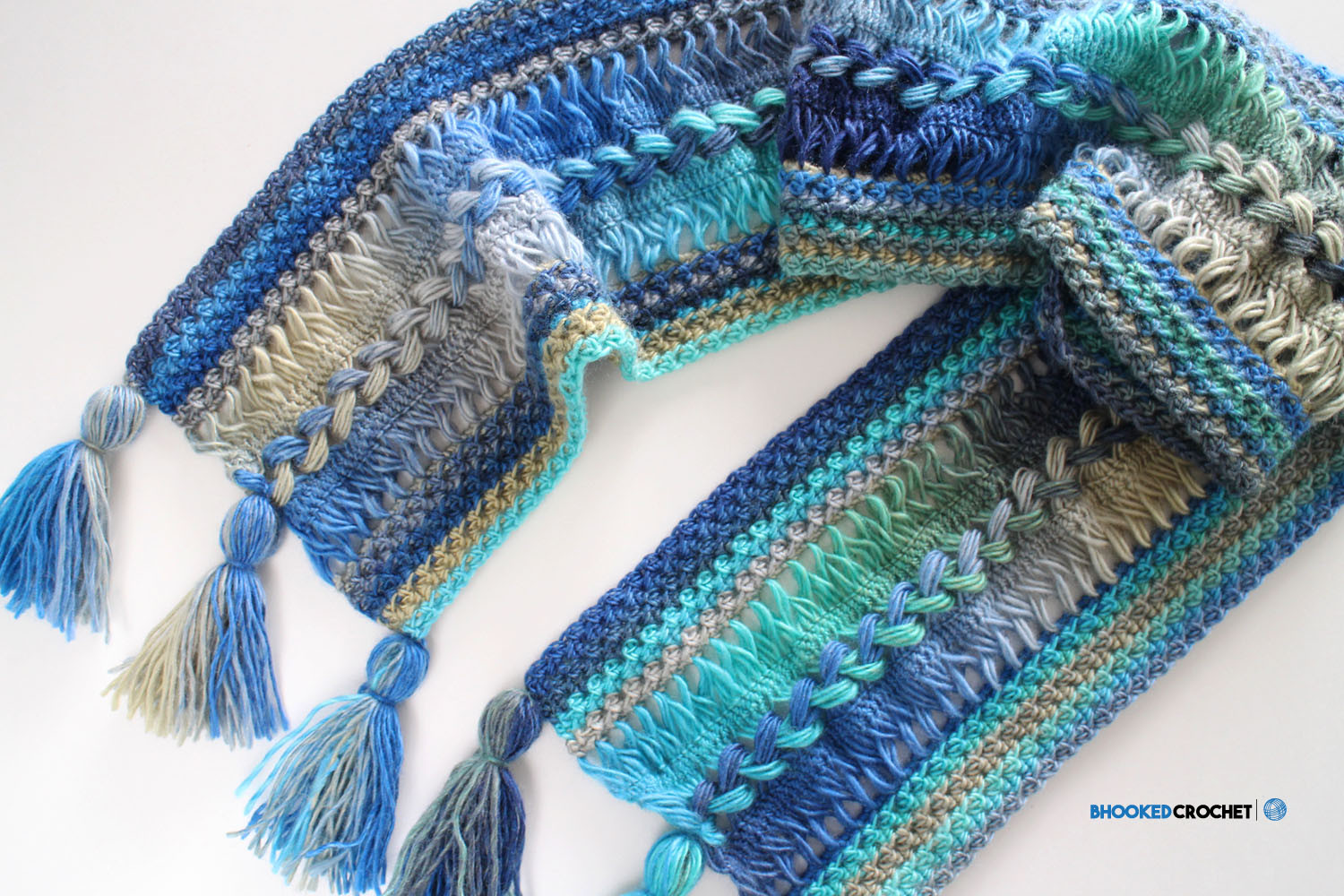 Waves Hairpin Lace Scarf B hooked Crochet