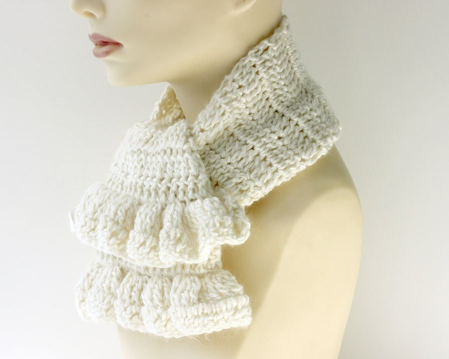 Fresh White Crochet Scarf Ruffled Scarf Angora Bamboo Ruffle Scarf Crochet Ruffle Scarf Of Lovely 24 Best Images About Crochet Ruffle Scarf On Pinterest Crochet Ruffle Scarf