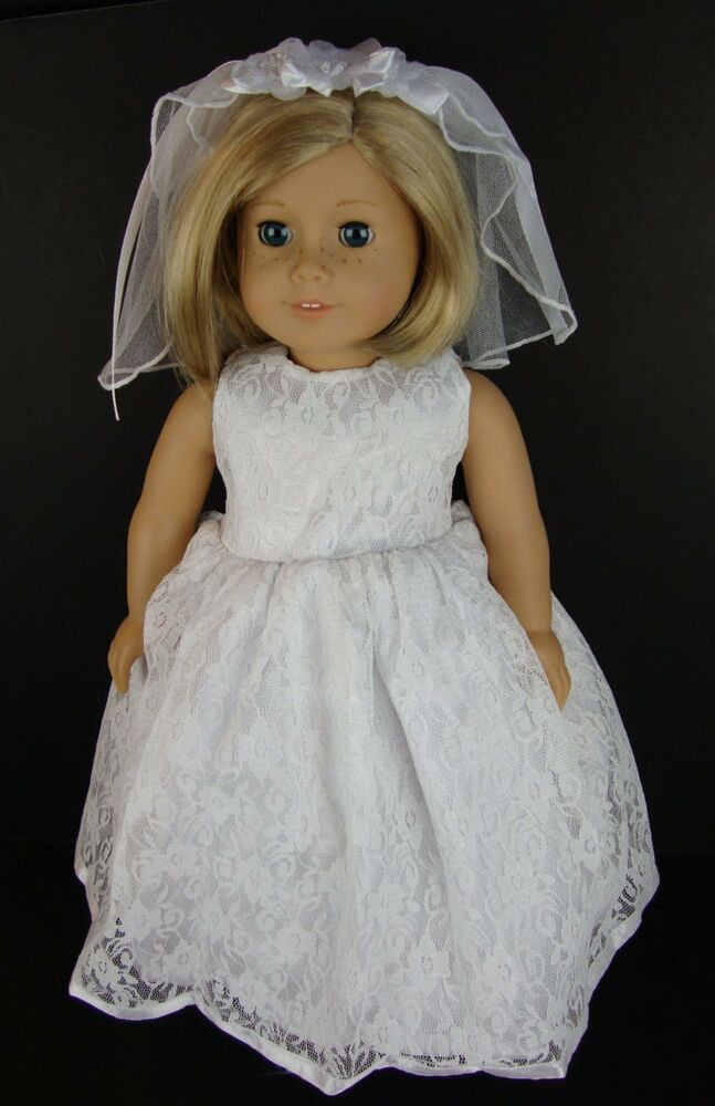 Fresh White Lace Wedding Dress with Fancy Veil for 18 Inch American Girl Doll Wedding Dress Of Elegant Handmade 18 Doll Wedding Dress Five Piece by Creationsbynoveda American Girl Doll Wedding Dress