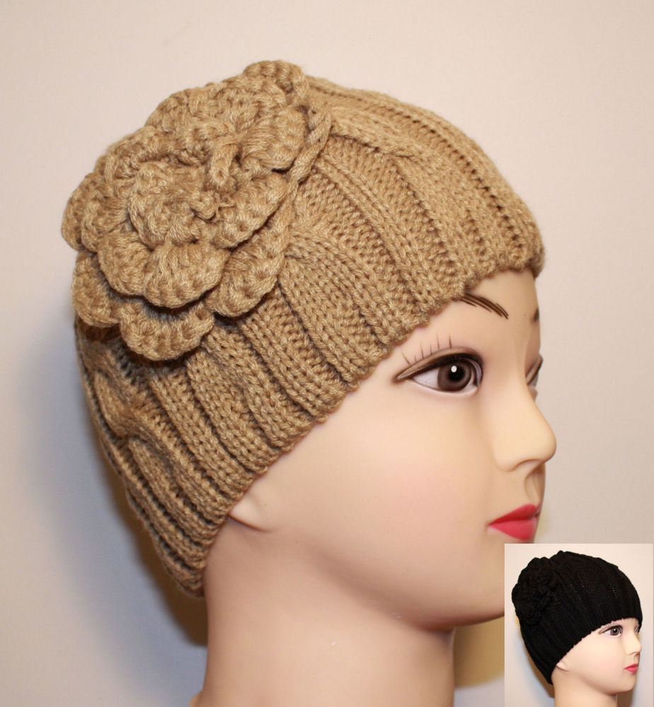 Women Flower Corsage Cable Knit Beanie Fitted Winter Hat