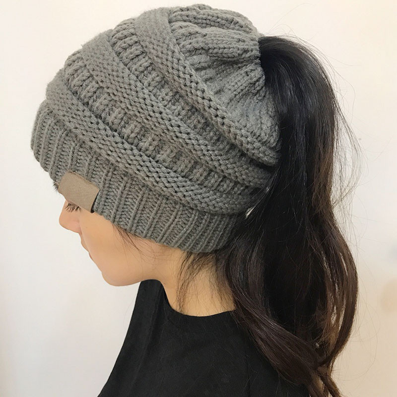 Fresh Women Girls Stretch Knit Hat Messy High Bun Ponytail Beanie with Bun Hole Of Amazing 46 Photos Beanie with Bun Hole