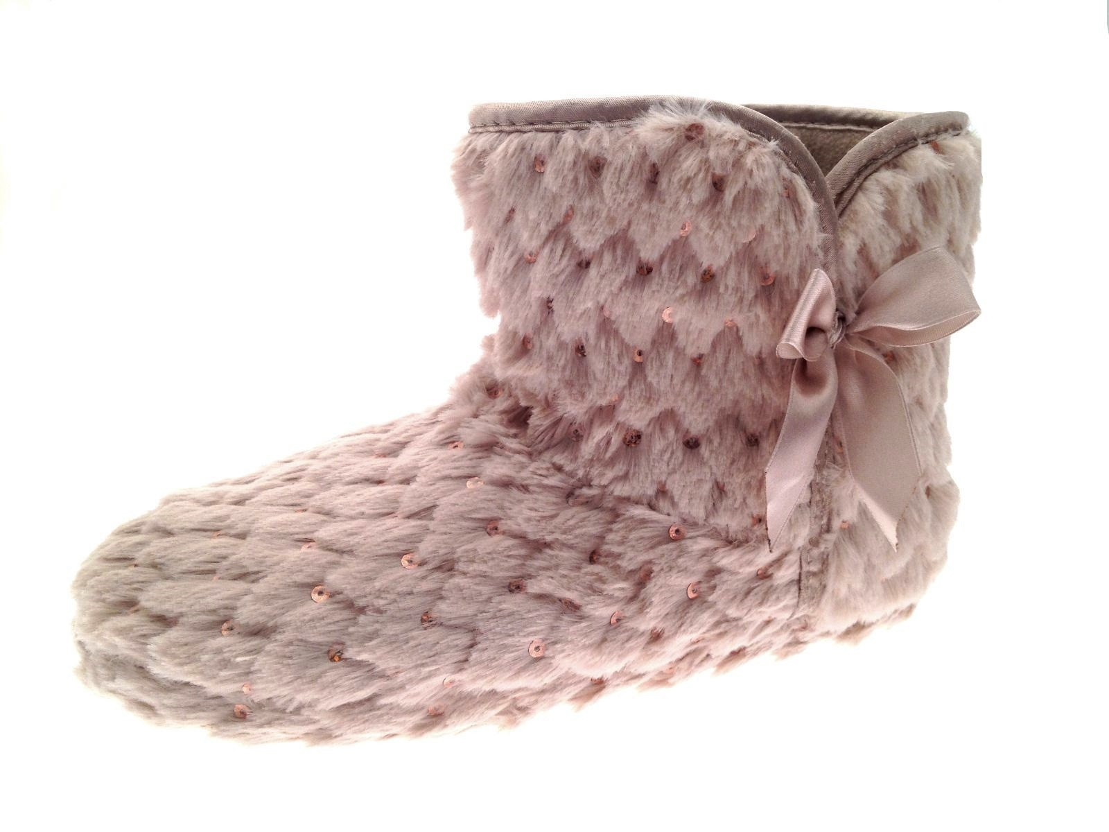 Womens Slipper Boots Knitted Fur Fleece Booties Girls