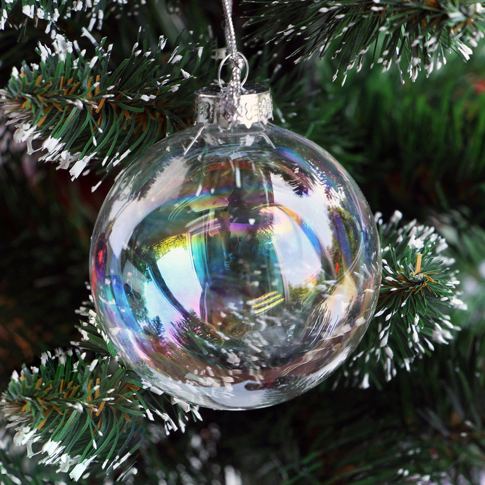 Glass ornament Balls Luxury Clear Iridescent Glass Fillable Baubles Balls X Mas Of Charming 49 Pictures Glass ornament Balls