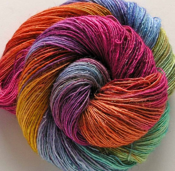 Hand Dyed Rayon and Gold Metallic Yarn Lollipop by FiberFusion
