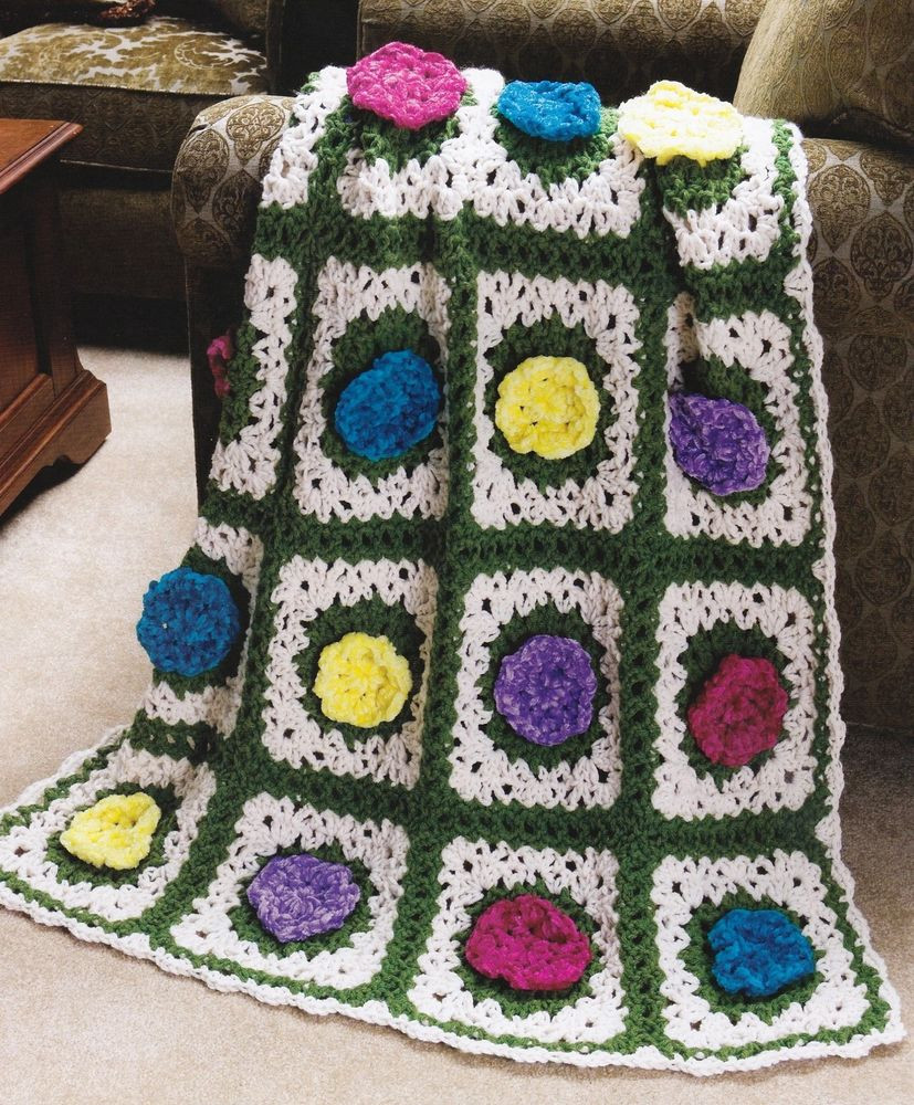 BEAUTIFUL Springtime Velvety Roses Afghan Crochet Pattern