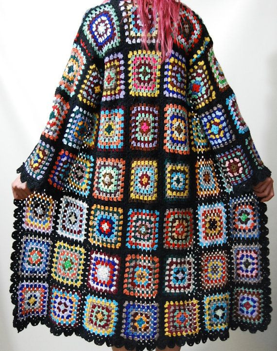 Granny Square Jacket Awesome Reserved for Diane Crochet Granny Square Jacket Sweater Of Marvelous 46 Models Granny Square Jacket