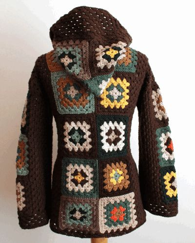 Granny Square Jacket Inspirational Hooded Jacket Scrap and Crochet Patterns On Pinterest Of Marvelous 46 Models Granny Square Jacket