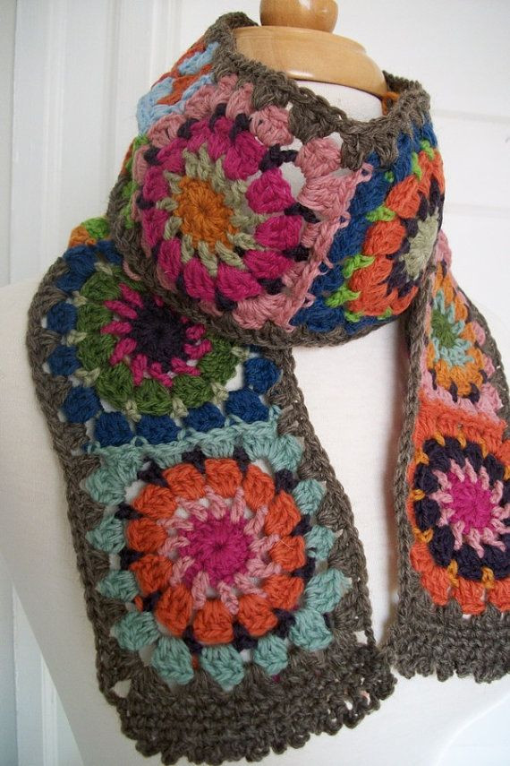 Granny Square Scarf Fresh Folk City Cozy Granny Square Scarf by Folkcity On Etsy Of Unique 47 Pictures Granny Square Scarf