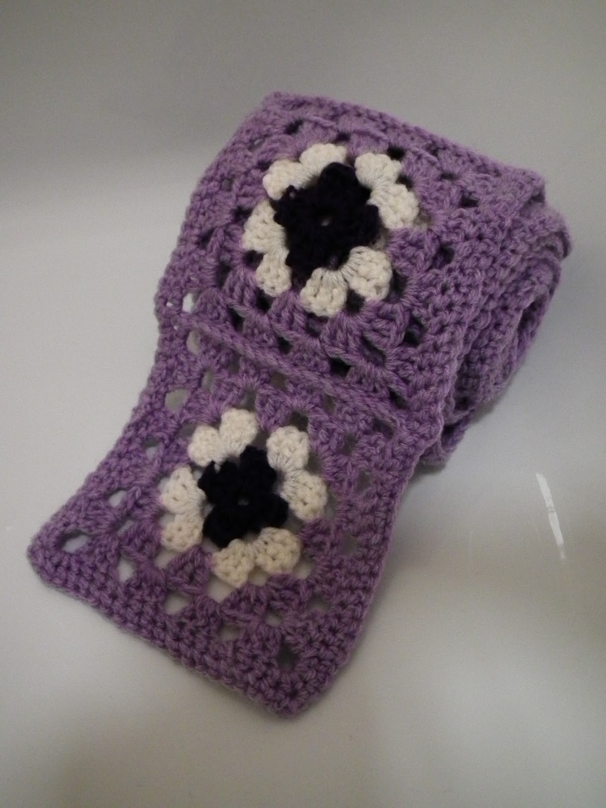 KnottedRose Reflections granny square scarf