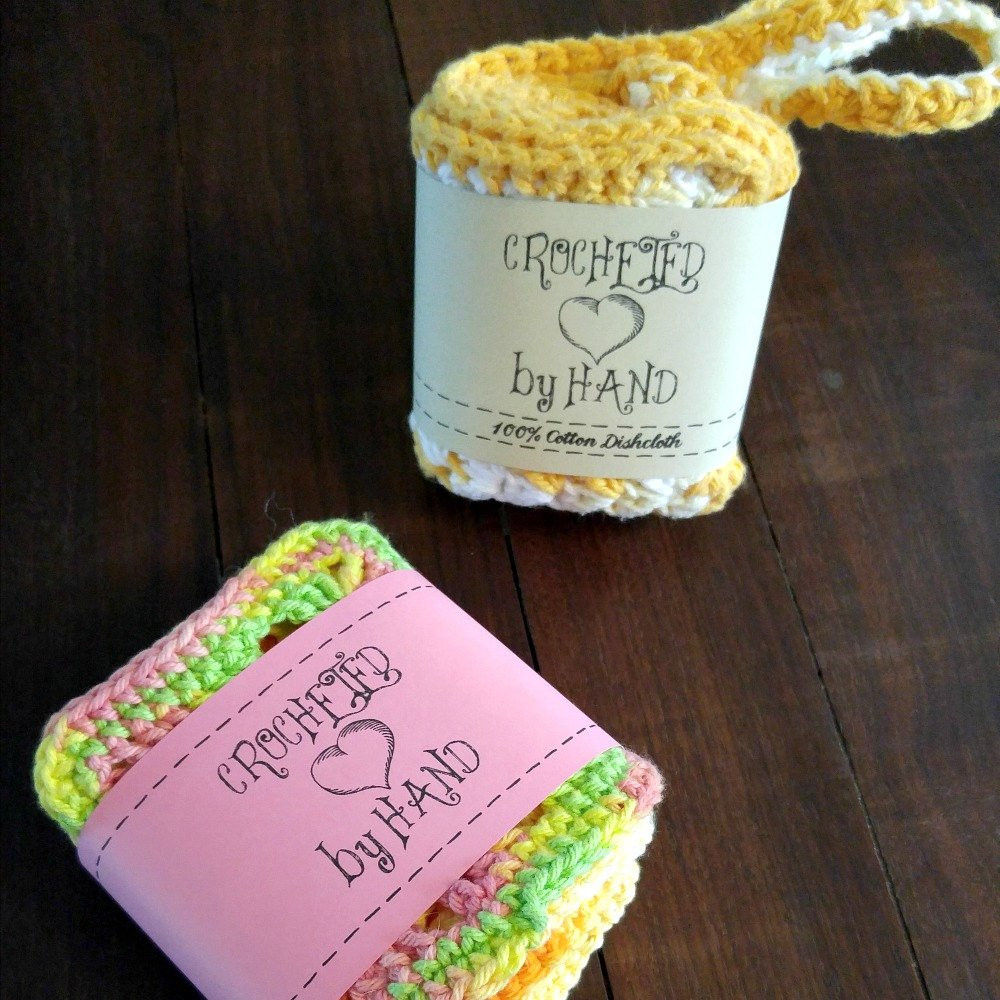 Handmade Labels for Crochet New Printable Pdf Crochet Dishcloth Label Wrappers Crocheted by Of New 49 Photos Handmade Labels for Crochet